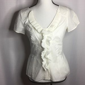 ANN TAYLOR Ivory Career Top Frilled Fully lined